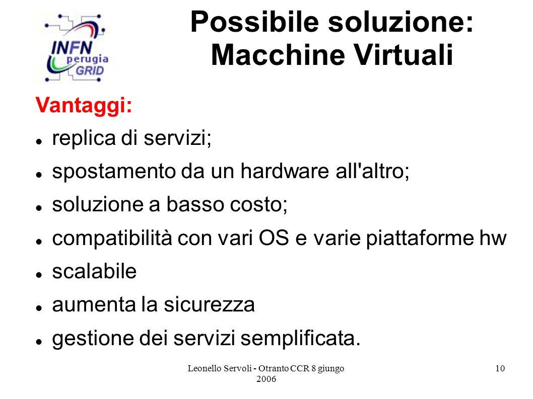 Leonello Servoli - Otranto CCR 8 giungo 2006 10 Possibile soluzione: Macchine Virtuali replica di servizi; spostamento da un hardware all altro; soluzione a basso costo; compatibilità con vari OS e varie piattaforme hw scalabile aumenta la sicurezza gestione dei servizi semplificata.