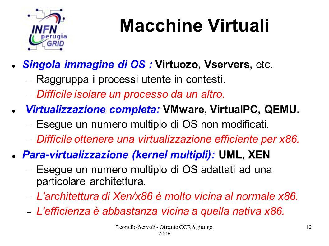 Leonello Servoli - Otranto CCR 8 giungo 2006 12 Macchine Virtuali Singola immagine di OS : Virtuozo, Vservers, etc.  Raggruppa i processi utente in c