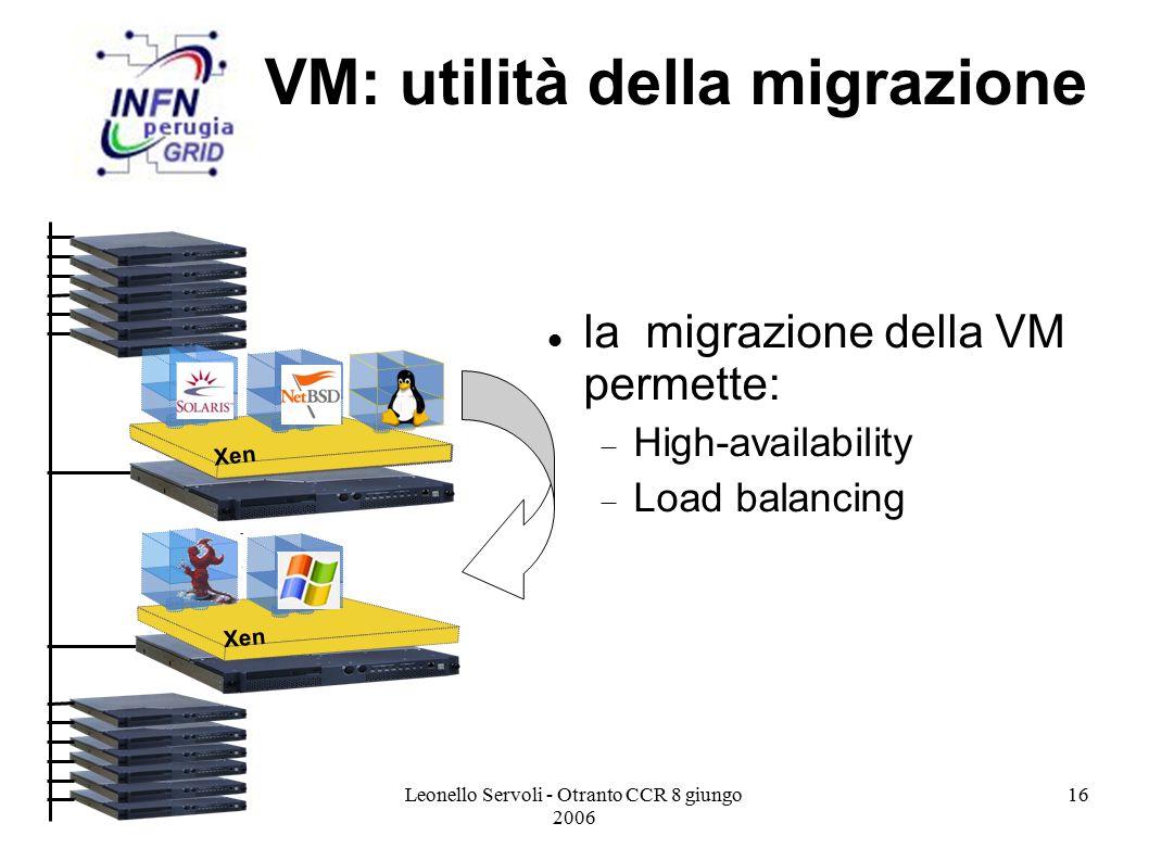 Leonello Servoli - Otranto CCR 8 giungo 2006 16 VM: utilità della migrazione la migrazione della VM permette:  High-availability  Load balancing Xen
