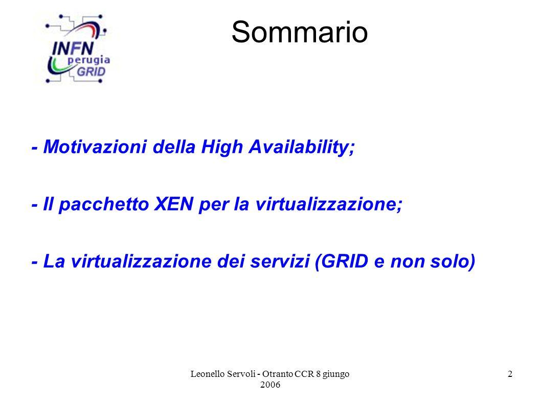 Leonello Servoli - Otranto CCR 8 giungo 2006 13 Xen 3.0 Architecture Hardware (SMP, MMU, physical memory, Ethernet, SCSI/IDE) GuestOS (XenLinux) Device Manager & Control s/w User software VM0 GuestOS (XenLinux) Unmodified User Software VM1 Front-End Device Drivers GuestOS (XenLinux) Unmodified User Software VM2 Front-End Device Drivers Unmodified GuestOS (WinXP)) Unmodified User Software VM3 Xen Virtual Machine Monitor Back-End 32/64bit SMP Front-End Device Drivers