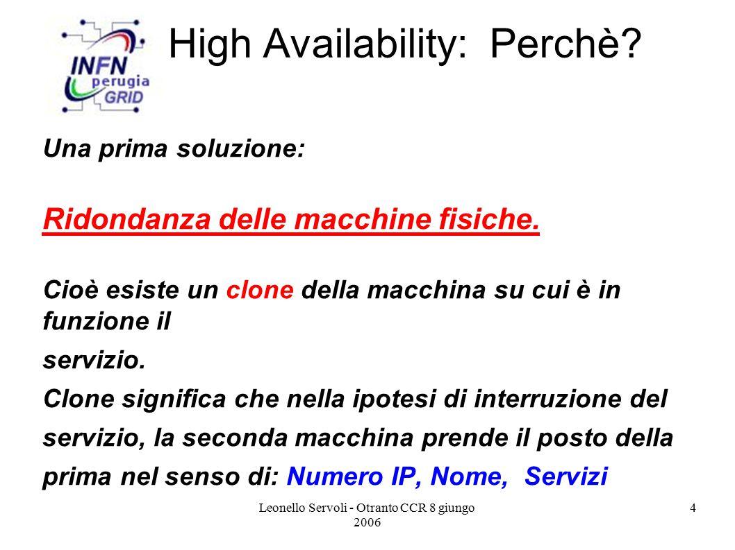 Leonello Servoli - Otranto CCR 8 giungo 2006 5 Ridondanza Macchine Fisiche Ci sono due macchine front-end (director1 e director2) e N real-servers.
