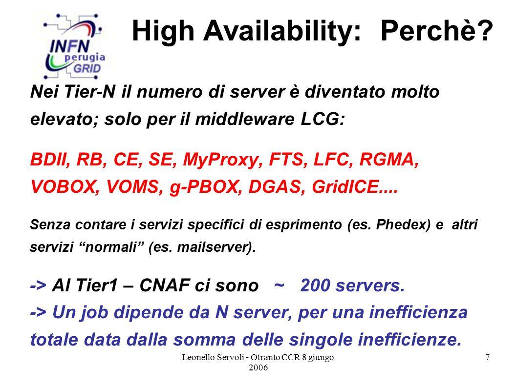 Leonello Servoli - Otranto CCR 8 giungo 2006 8 High Availability: Perchè.