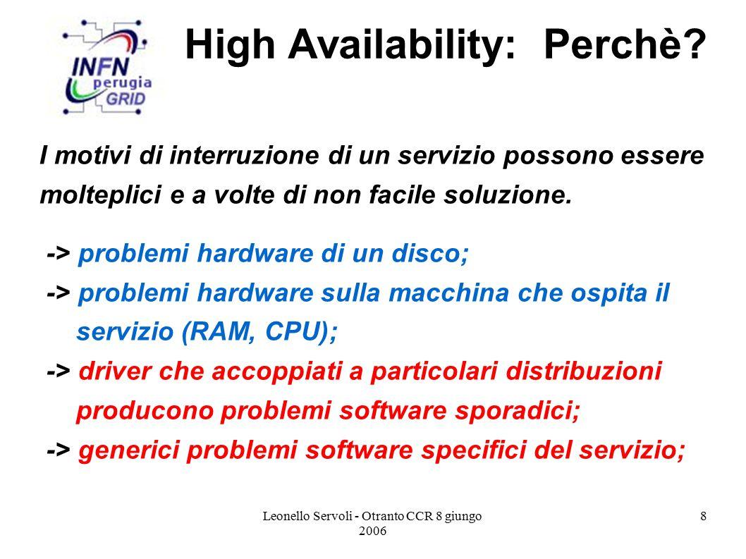 Leonello Servoli - Otranto CCR 8 giungo 2006 9 High Availability: Perchè.