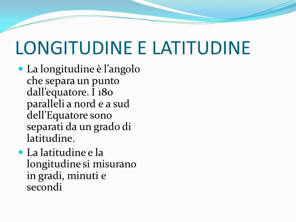 LONGITUDINE E LATITUDINE La longitudine è l'angolo che separa un punto dall'equatore.