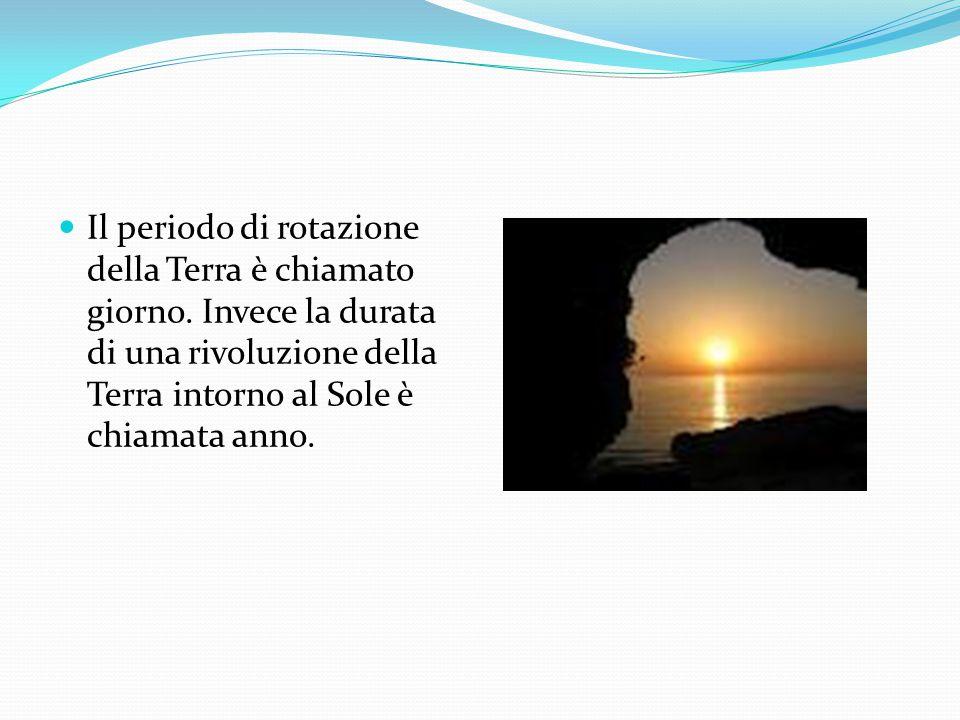 Il periodo di rotazione della Terra è chiamato giorno.