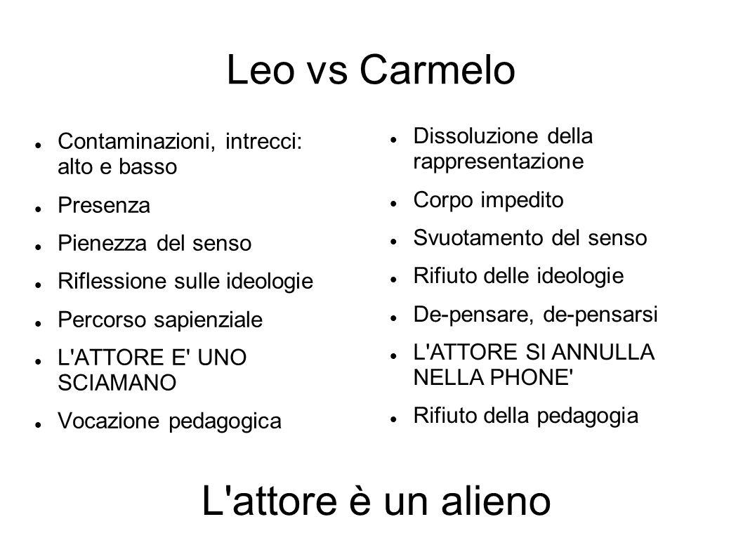 Leo vs Carmelo Contaminazioni, intrecci: alto e basso Presenza Pienezza del senso Riflessione sulle ideologie Percorso sapienziale L'ATTORE E' UNO SCI