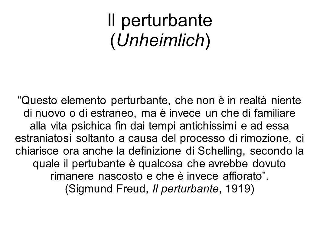 """Il perturbante (Unheimlich) """"Questo elemento perturbante, che non è in realtà niente di nuovo o di estraneo, ma è invece un che di familiare alla vita"""