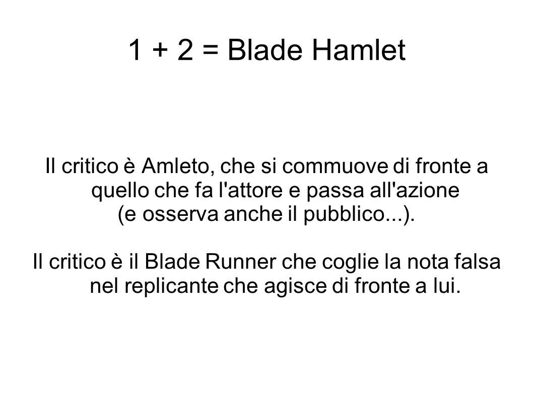 1 + 2 = Blade Hamlet Il critico è Amleto, che si commuove di fronte a quello che fa l'attore e passa all'azione (e osserva anche il pubblico...). Il c
