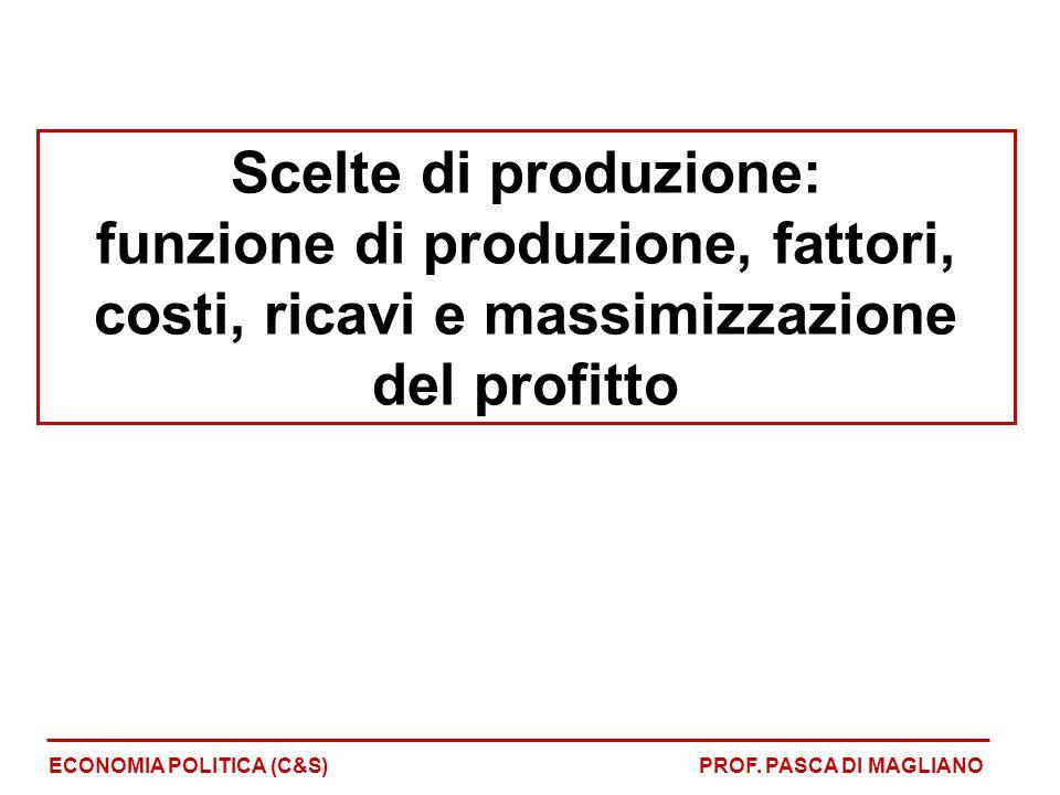 Scelte dell'impresa Scelte dell'impresa: - Come usare i fattori produttivi Scelta dei fattori Ottima combinazione (prezzi-quantità) Andamento dei costi di produzione ECONOMIA POLITICA (P-Z)PROF.