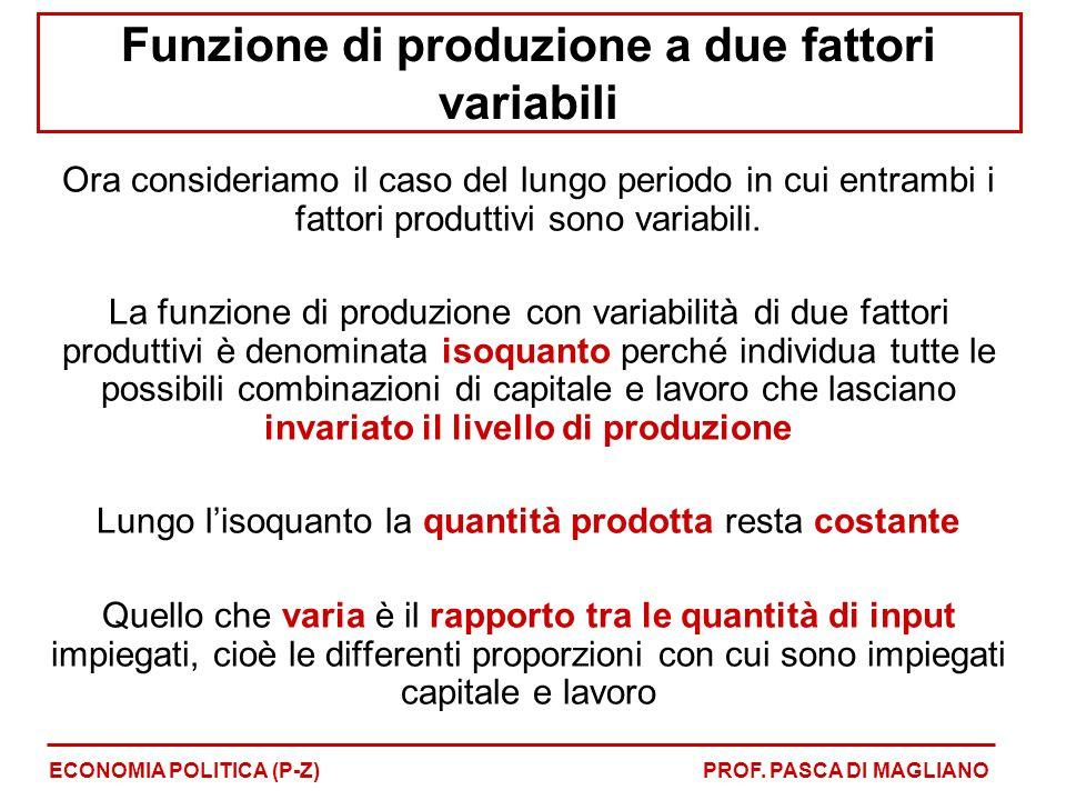 Funzione di produzione a due fattori variabili Ora consideriamo il caso del lungo periodo in cui entrambi i fattori produttivi sono variabili. La funz