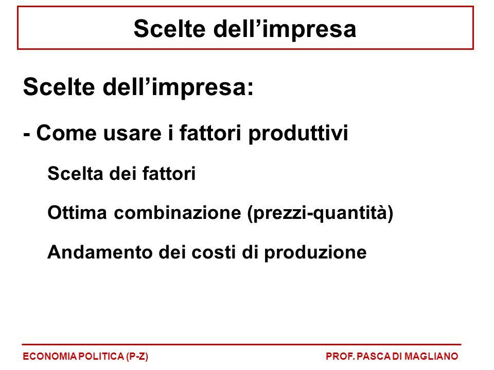 Scelte dell'impresa Scelte dell'impresa: - Come usare i fattori produttivi Scelta dei fattori Ottima combinazione (prezzi-quantità) Andamento dei cost