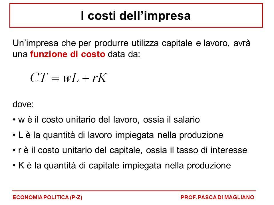 I costi dell'impresa Un'impresa che per produrre utilizza capitale e lavoro, avrà una funzione di costo data da: dove: w è il costo unitario del lavor