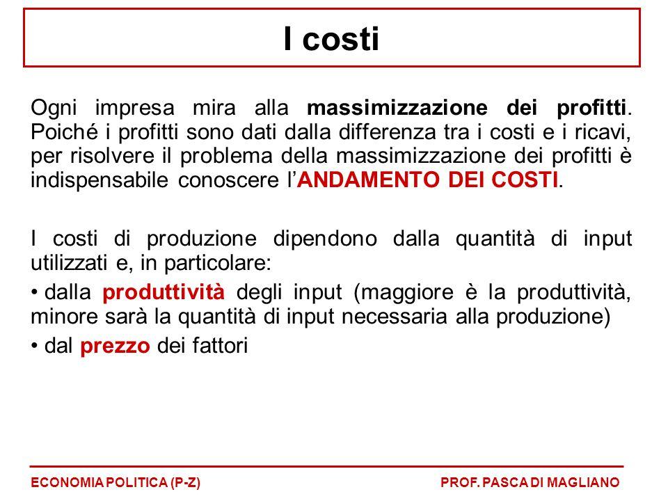 I costi Ogni impresa mira alla massimizzazione dei profitti. Poiché i profitti sono dati dalla differenza tra i costi e i ricavi, per risolvere il pro