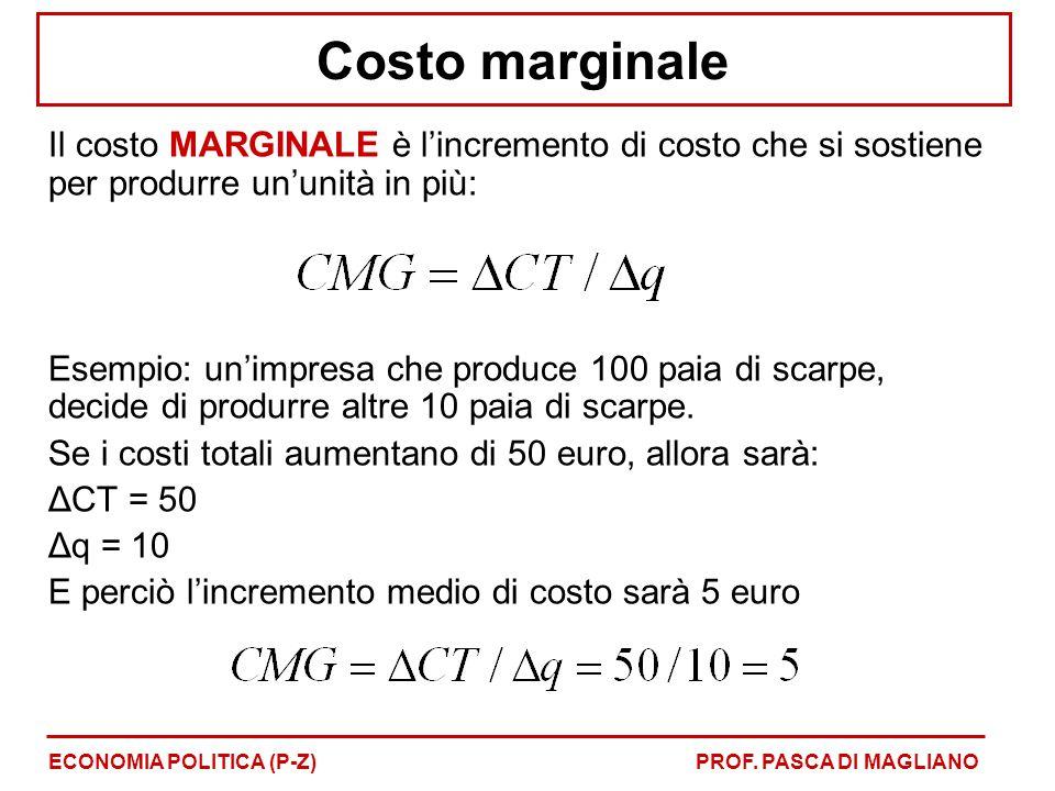 Costo marginale Il costo MARGINALE è l'incremento di costo che si sostiene per produrre un'unità in più: Esempio: un'impresa che produce 100 paia di scarpe, decide di produrre altre 10 paia di scarpe.