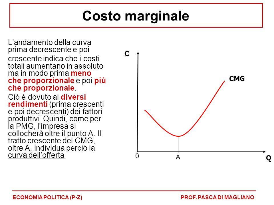 Costo marginale L'andamento della curva prima decrescente e poi crescente indica che i costi totali aumentano in assoluto ma in modo prima meno che proporzionale e poi più che proporzionale.