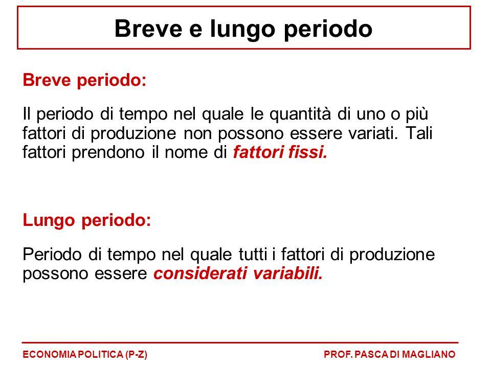 Breve e lungo periodo Breve periodo: Il periodo di tempo nel quale le quantità di uno o più fattori di produzione non possono essere variati.