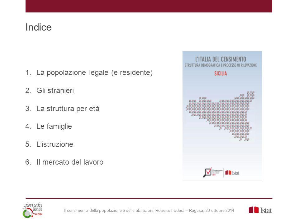 Il censimento della popolazione e delle abitazioni, Roberto Foderà – Ragusa, 23 ottobre 2014 Popolazione di 6 anni e più per grado di istruzione (composizioni % al 2011)