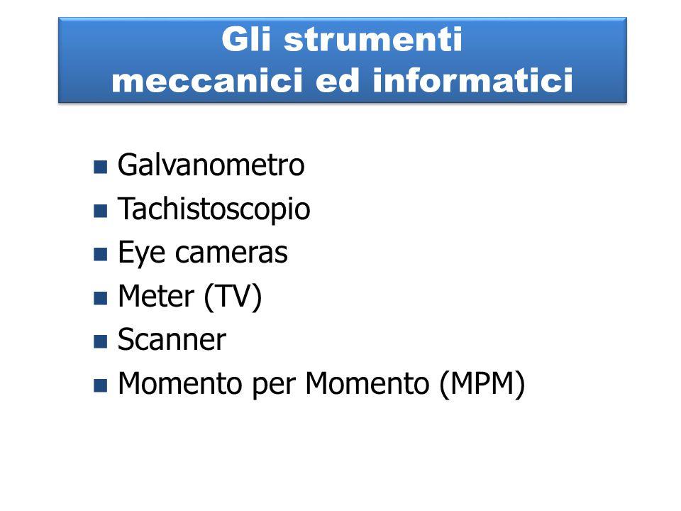 Gli strumenti meccanici ed informatici Galvanometro Tachistoscopio Eye cameras Meter (TV) Scanner Momento per Momento (MPM)