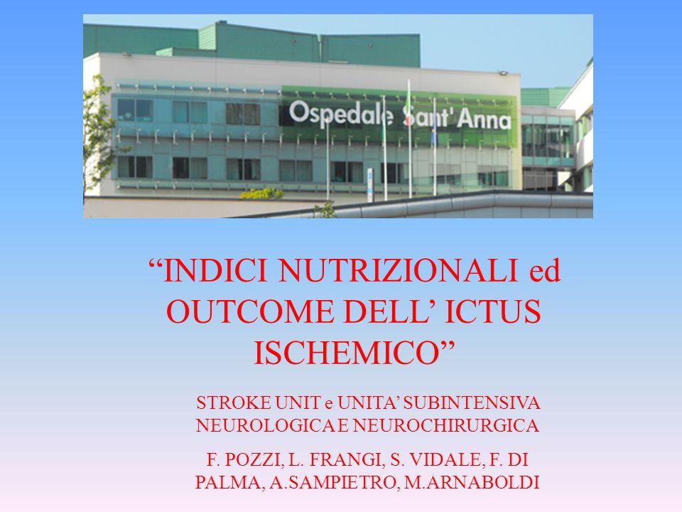 """""""INDICI NUTRIZIONALI ed OUTCOME DELL' ICTUS ISCHEMICO"""" STROKE UNIT e UNITA' SUBINTENSIVA NEUROLOGICA E NEUROCHIRURGICA F. POZZI, L. FRANGI, S. VIDALE,"""