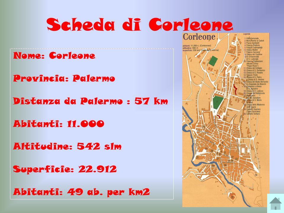 4 Scheda di Corleone Nome: Corleone Provincia: Palermo Distanza da Palermo : 57 km Abitanti: 11.000 Altitudine: 542 slm Superficie: 22.912 Abitanti: 49 ab.