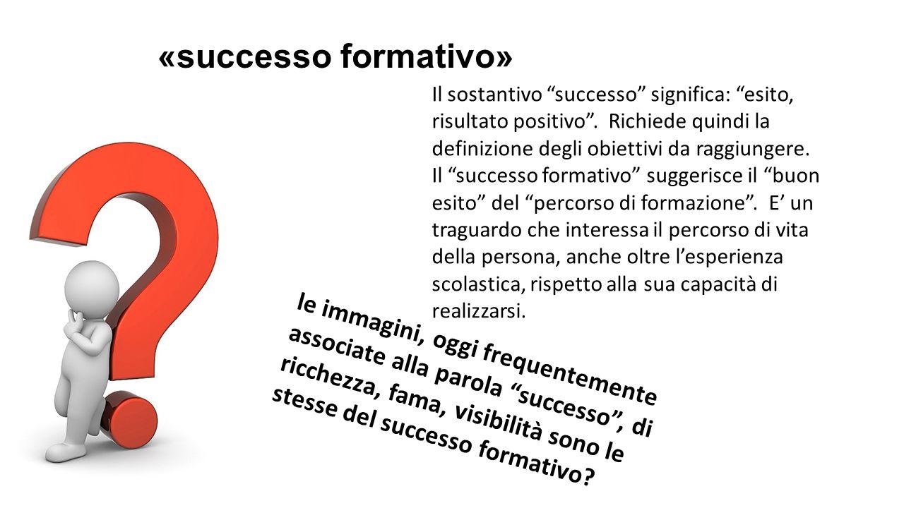 «successo formativo» Il sostantivo successo significa: esito, risultato positivo .