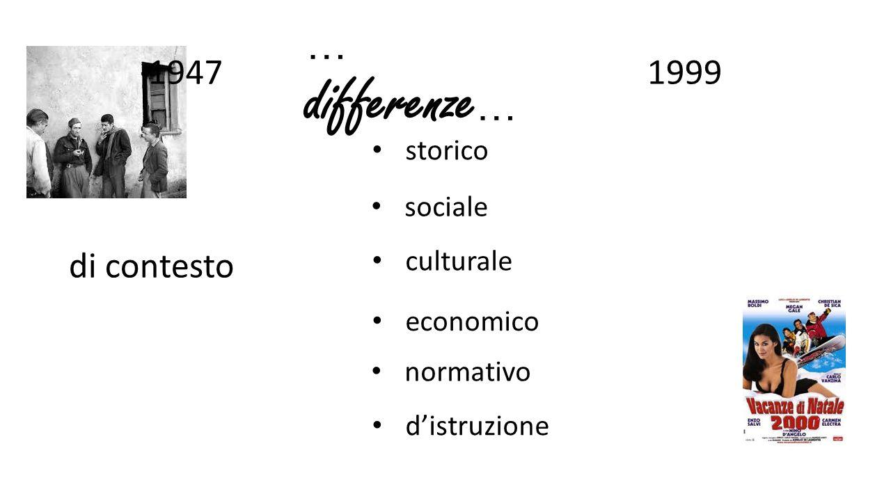 … differenze … 19471999 di contesto storico economico sociale normativo culturale d'istruzione