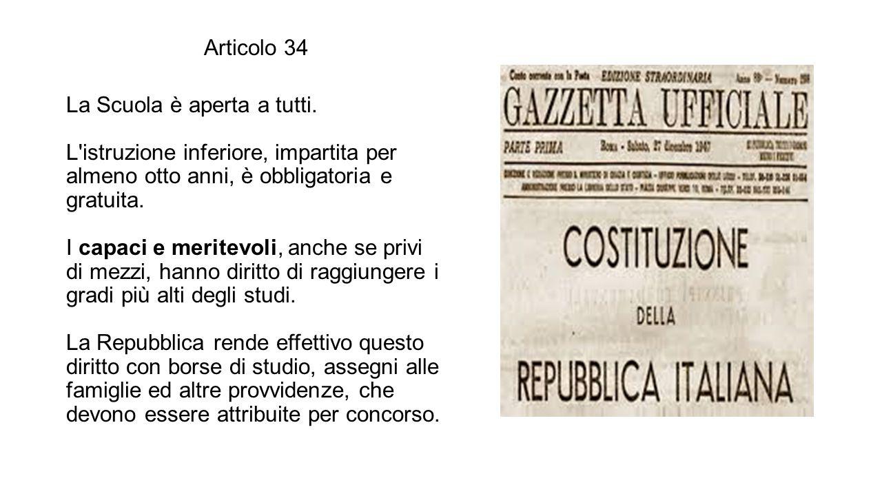 Articolo 34 La Scuola è aperta a tutti.