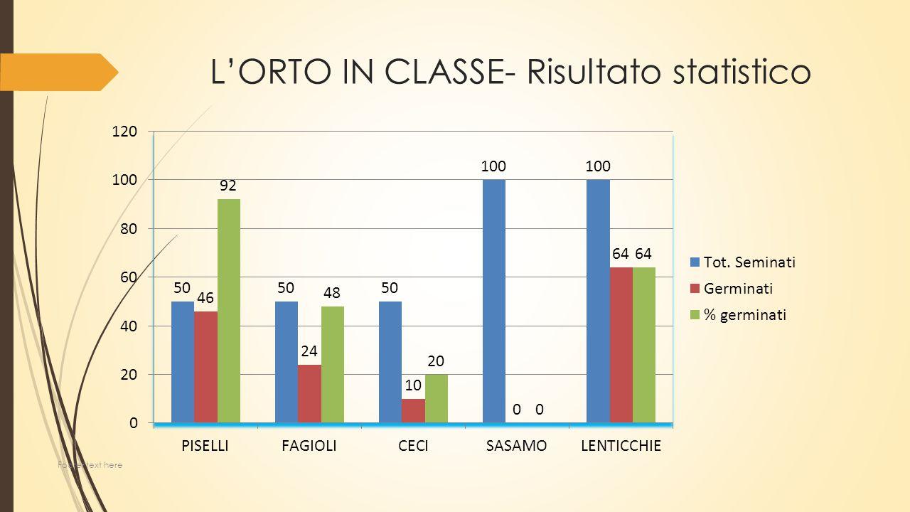 L'ORTO IN CLASSE- Risultato statistico Footer text here
