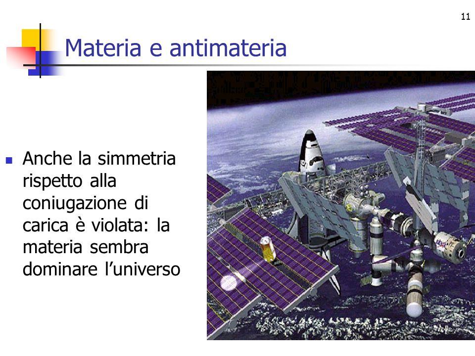 11 Materia e antimateria Anche la simmetria rispetto alla coniugazione di carica è violata: la materia sembra dominare l'universo
