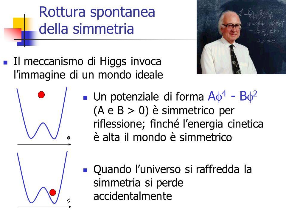 12 Rottura spontanea della simmetria Il meccanismo di Higgs invoca l'immagine di un mondo ideale Un potenziale di forma A  4 - B  2 (A e B > 0) è simmetrico per riflessione; finché l'energia cinetica è alta il mondo è simmetrico Quando l'universo si raffredda la simmetria si perde accidentalmente  