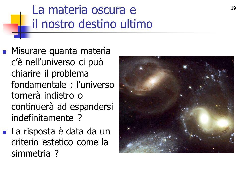 19 La materia oscura e il nostro destino ultimo Misurare quanta materia c'è nell'universo ci può chiarire il problema fondamentale : l'universo tornerà indietro o continuerà ad espandersi indefinitamente .