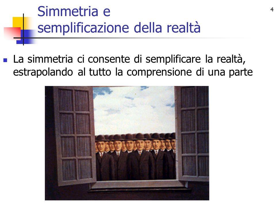 4 Simmetria e semplificazione della realtà La simmetria ci consente di semplificare la realtà, estrapolando al tutto la comprensione di una parte