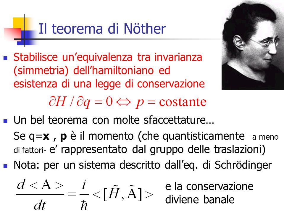 6 Il teorema di Nöther Stabilisce un'equivalenza tra invarianza (simmetria) dell'hamiltoniano ed esistenza di una legge di conservazione Un bel teorema con molte sfaccettature… Se q=x, p è il momento (che quantisticamente -a meno di fattori- e' rappresentato dal gruppo delle traslazioni) Nota: per un sistema descritto dall'eq.