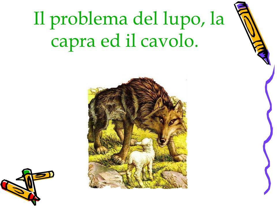 ENUNCIAZIONE DEL PROBLEMA Un tale ha con sé un lupo, una capra e un cavolo; e deve attraversare un fiume, con una barca, in cui può portare un solo oggetto per volta.