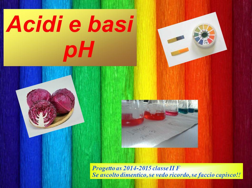 Acidi e basi pH Progetto as 2014-2015 classe II F Se ascolto dimentico, se vedo ricordo, se faccio capisco!!