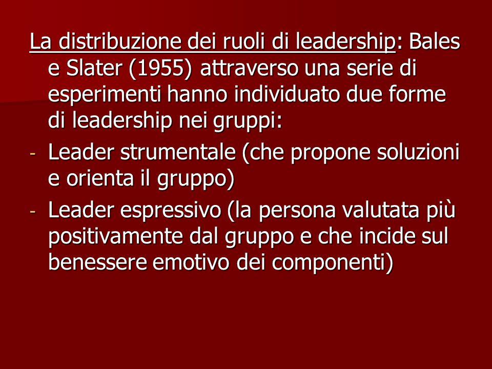 La distribuzione dei ruoli di leadership: Bales e Slater (1955) attraverso una serie di esperimenti hanno individuato due forme di leadership nei gruppi: - Leader strumentale (che propone soluzioni e orienta il gruppo) - Leader espressivo (la persona valutata più positivamente dal gruppo e che incide sul benessere emotivo dei componenti)