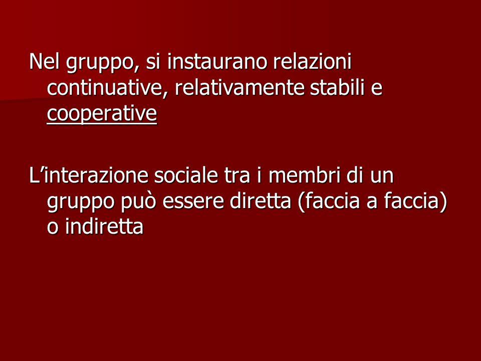 Nel gruppo, si instaurano relazioni continuative, relativamente stabili e cooperative L'interazione sociale tra i membri di un gruppo può essere diretta (faccia a faccia) o indiretta
