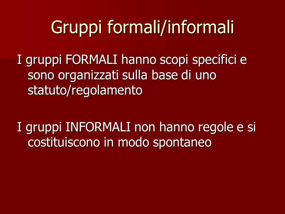 Gruppi formali/informali I gruppi FORMALI hanno scopi specifici e sono organizzati sulla base di uno statuto/regolamento I gruppi INFORMALI non hanno regole e si costituiscono in modo spontaneo