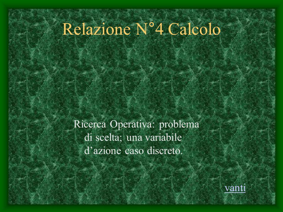 Relazione N°4 Calcolo Ricerca Operativa: problema di scelta; una variabile d'azione caso discreto. vanti