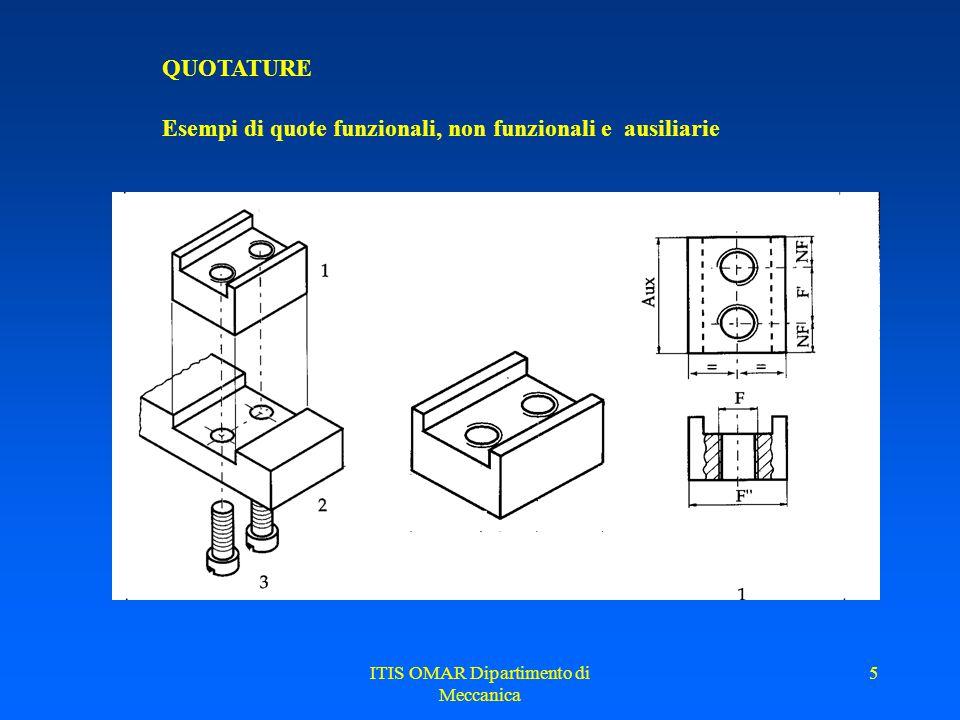 ITIS OMAR Dipartimento di Meccanica 5 QUOTATURE Esempi di quote funzionali, non funzionali e ausiliarie
