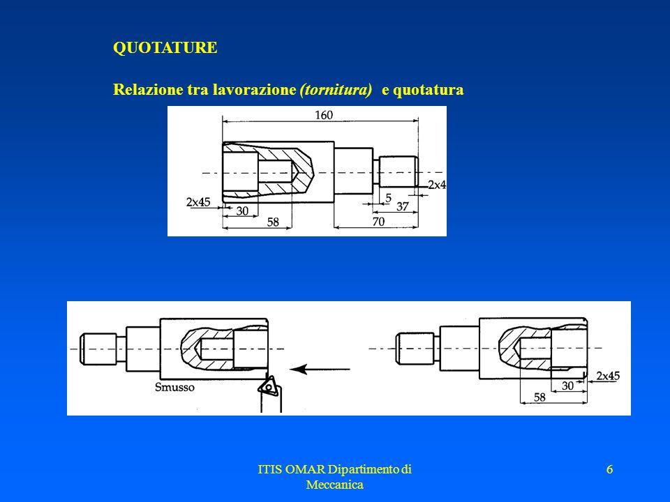ITIS OMAR Dipartimento di Meccanica 6 QUOTATURE Relazione tra lavorazione (tornitura) e quotatura