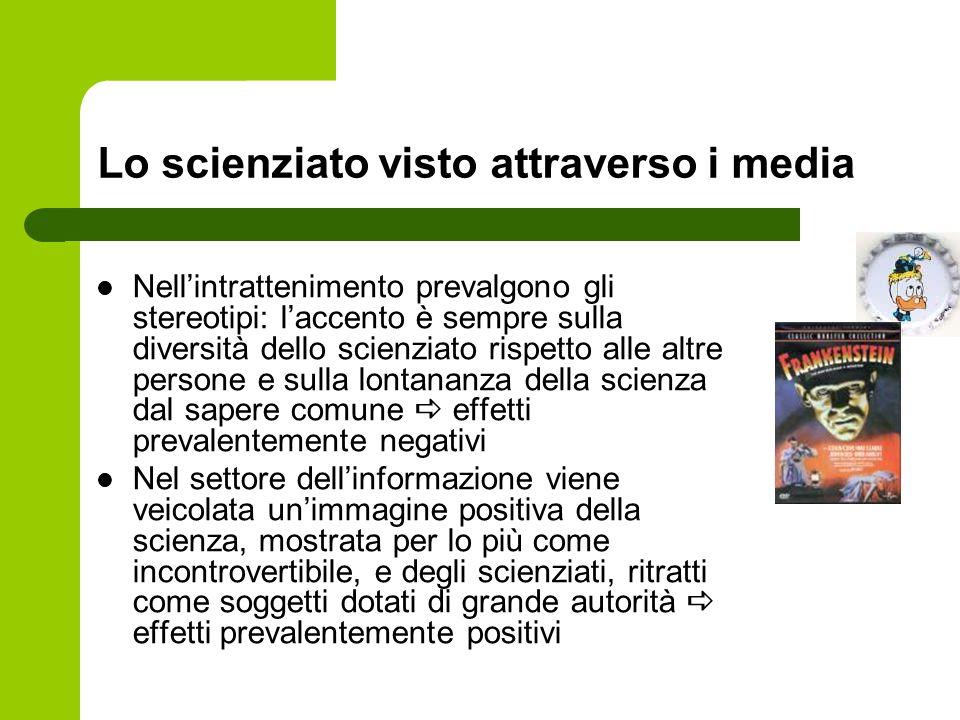 Lo scienziato visto attraverso i media Nell'intrattenimento prevalgono gli stereotipi: l'accento è sempre sulla diversità dello scienziato rispetto al