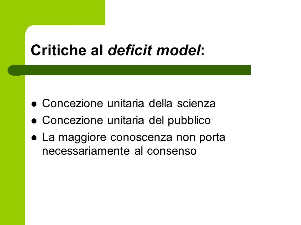 Critiche al deficit model: Concezione unitaria della scienza Concezione unitaria del pubblico La maggiore conoscenza non porta necessariamente al cons