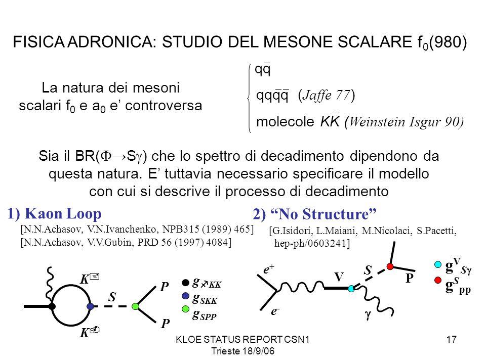KLOE STATUS REPORT CSN1 Trieste 18/9/06 17 FISICA ADRONICA: STUDIO DEL MESONE SCALARE f 0 (980) La natura dei mesoni scalari f 0 e a 0 e' controversa qq qqqq ( Jaffe 77 ) molecole KK ( Weinstein Isgur 90)    Sia il BR(  →S  ) che lo spettro di decadimento dipendono da questa natura.