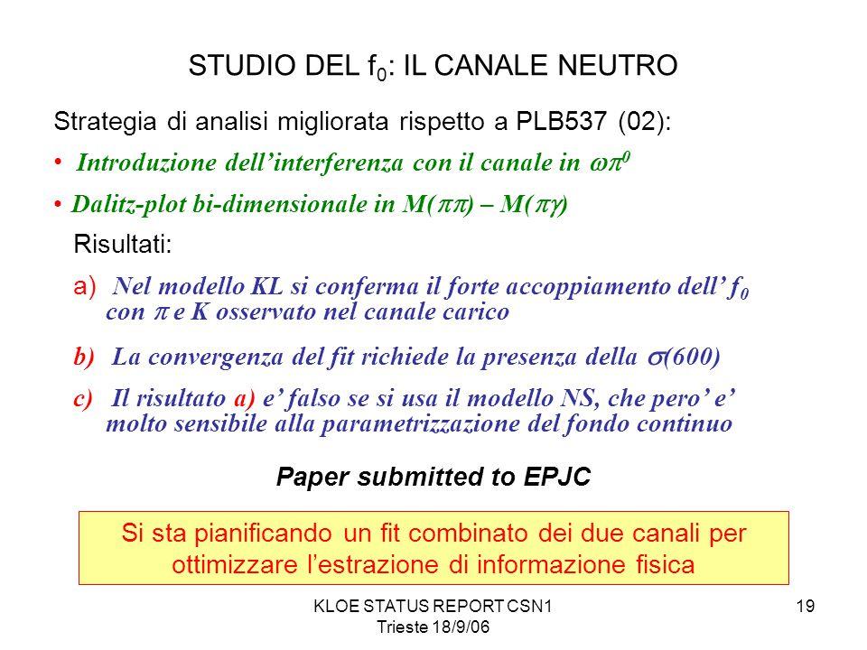 KLOE STATUS REPORT CSN1 Trieste 18/9/06 19 STUDIO DEL f 0 : IL CANALE NEUTRO Strategia di analisi migliorata rispetto a PLB537 (02): Introduzione dell'interferenza con il canale in  0 Dalitz-plot bi-dimensionale in M(  ) – M(  ) Risultati: a) Nel modello KL si conferma il forte accoppiamento dell' f 0 con  e K osservato nel canale carico b) La convergenza del fit richiede la presenza della  (600) c) Il risultato a) e' falso se si usa il modello NS, che pero' e' molto sensibile alla parametrizzazione del fondo continuo Si sta pianificando un fit combinato dei due canali per ottimizzare l'estrazione di informazione fisica Paper submitted to EPJC