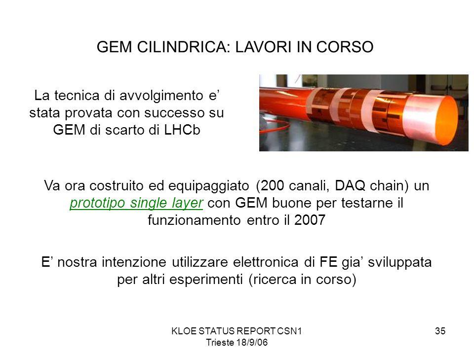 KLOE STATUS REPORT CSN1 Trieste 18/9/06 35 La tecnica di avvolgimento e' stata provata con successo su GEM di scarto di LHCb Va ora costruito ed equipaggiato (200 canali, DAQ chain) un prototipo single layer con GEM buone per testarne il funzionamento entro il 2007 E' nostra intenzione utilizzare elettronica di FE gia' sviluppata per altri esperimenti (ricerca in corso) GEM CILINDRICA: LAVORI IN CORSO