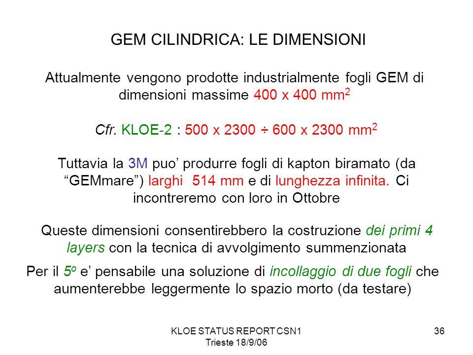 KLOE STATUS REPORT CSN1 Trieste 18/9/06 36 GEM CILINDRICA: LE DIMENSIONI Attualmente vengono prodotte industrialmente fogli GEM di dimensioni massime 400 x 400 mm 2 Cfr.