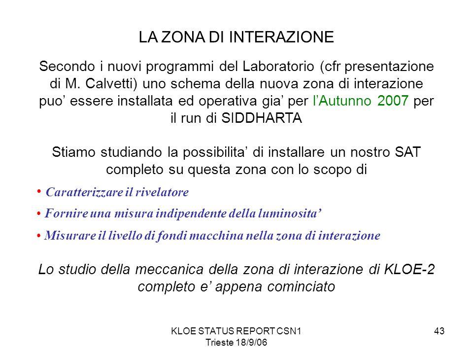 KLOE STATUS REPORT CSN1 Trieste 18/9/06 43 LA ZONA DI INTERAZIONE Secondo i nuovi programmi del Laboratorio (cfr presentazione di M.