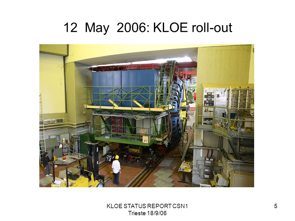 KLOE STATUS REPORT CSN1 Trieste 18/9/06 5 12 May 2006: KLOE roll-out