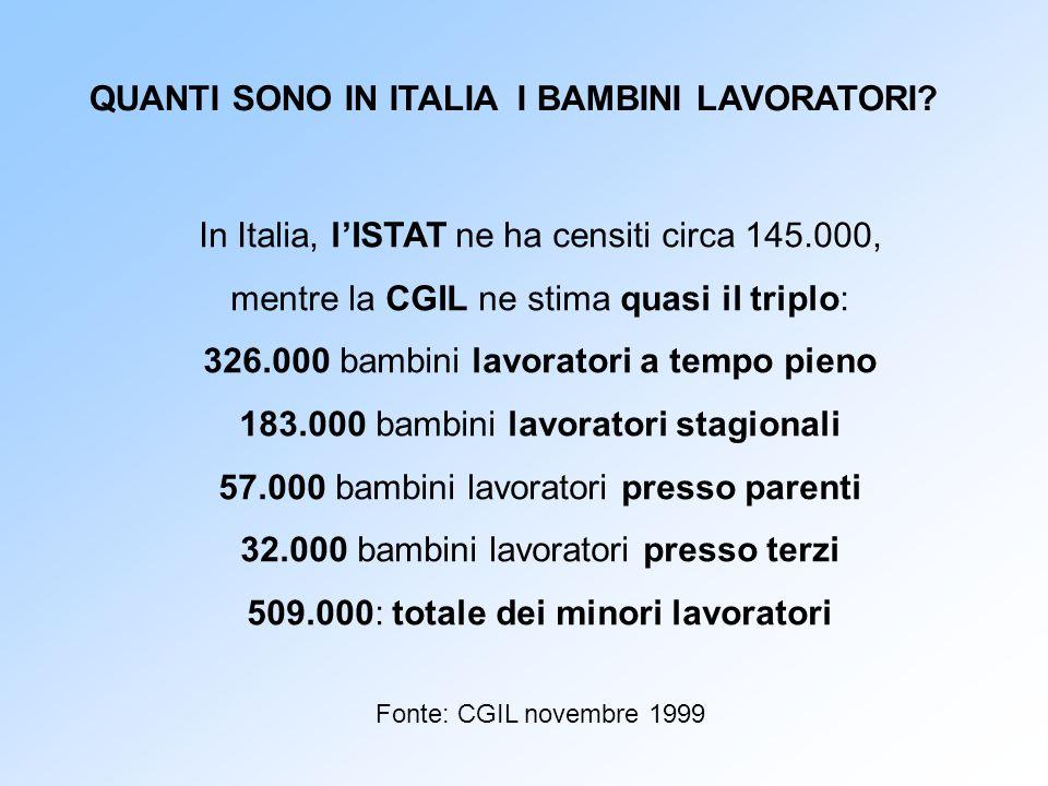 In Italia, l'ISTAT ne ha censiti circa 145.000, mentre la CGIL ne stima quasi il triplo: 326.000 bambini lavoratori a tempo pieno 183.000 bambini lavo
